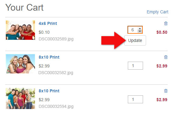 Updating Quantities in your Shopping Cart on Photobucket Print Shop