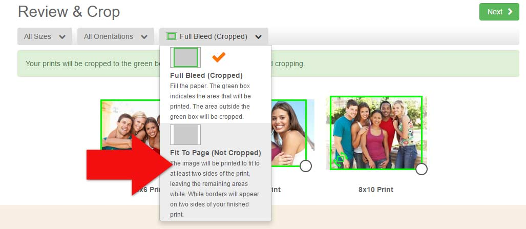 Order prints with no cropping on Photobucket Print Shop with Fit to Page prints