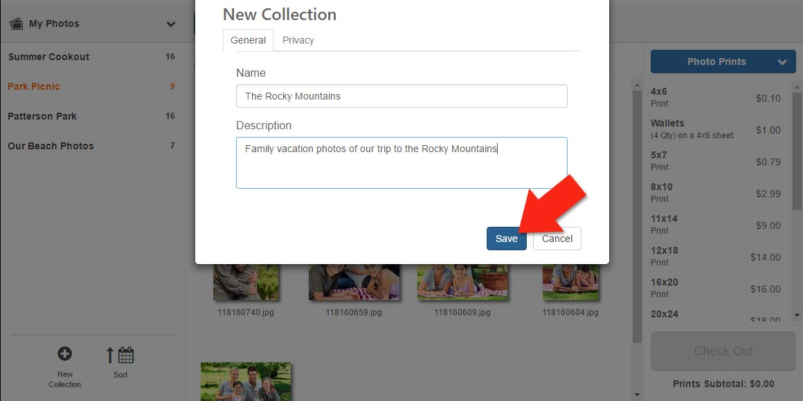 Create a custom name for your collection of photos
