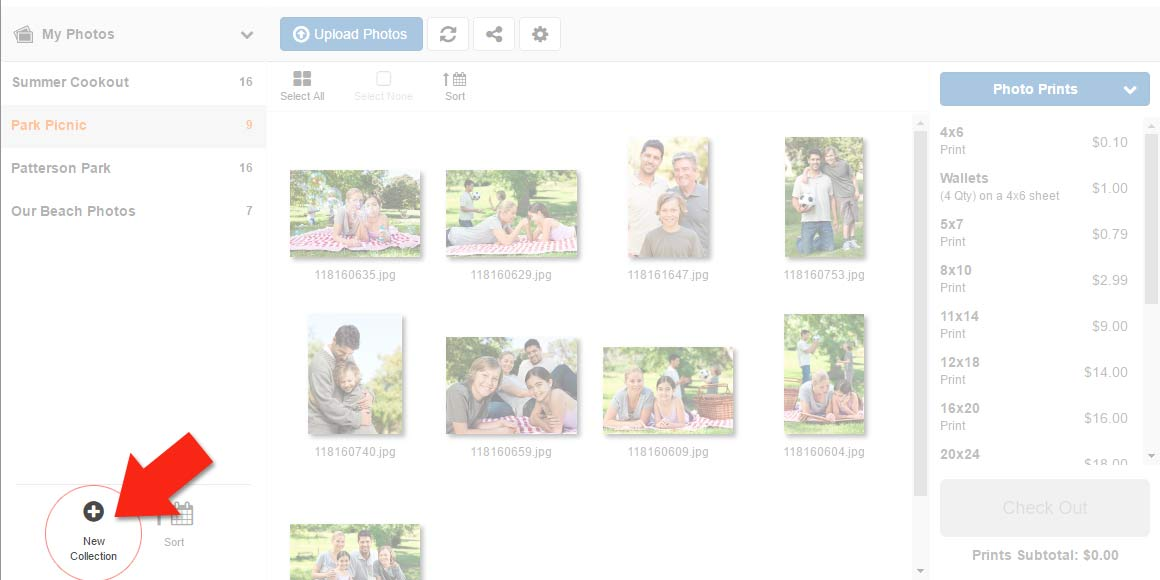 Create a new collection to upload photos to for online storage and photo print ordering