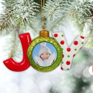 Add your photo to a cute JOY Photo Ornament for the Holiday