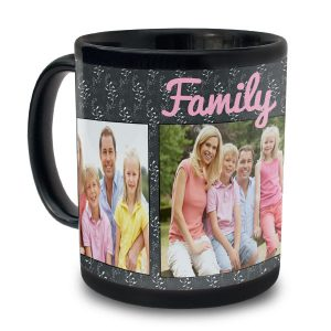 Create a designer black photo mug, perfect as a gift and to help you wake up daily with a smile