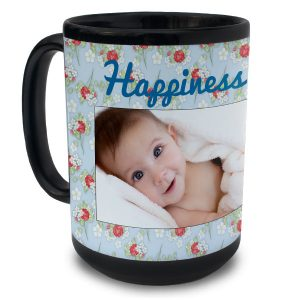 Create your own mug to help you enjoy your morning beverage with our 15oz black ceramic mug