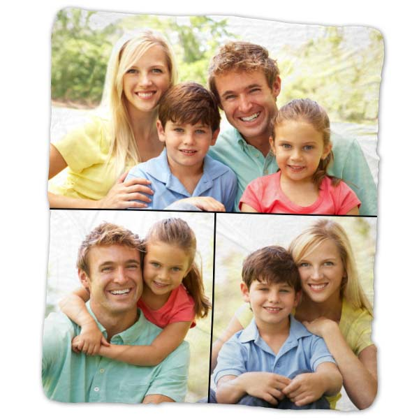 Photo personalized fleece blanket featuring a collage of photos