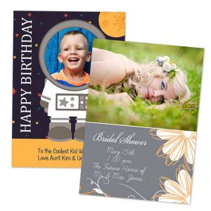Send a photo and tell a story with a custom birthday card or photo wedding card