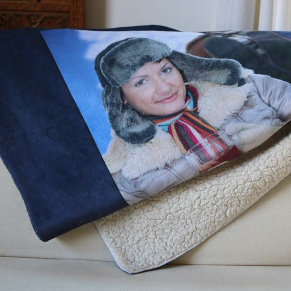 Designer Sherpa Photo Blanket personalized with photos, text and backgrounds
