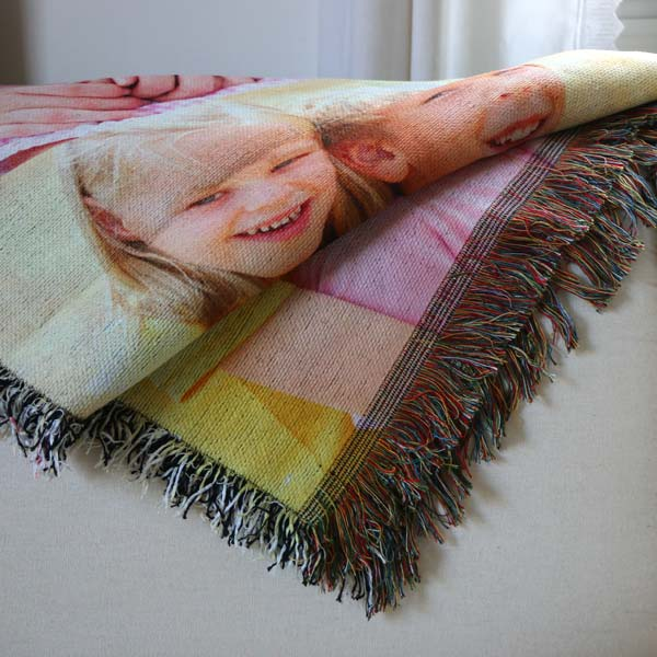 Add life to your home with a photo collage woven tapestry blanket for your wall or sofa