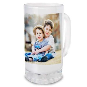 Create the perfect gift for dad to keep his beverage cool with a photo personalized glass stein