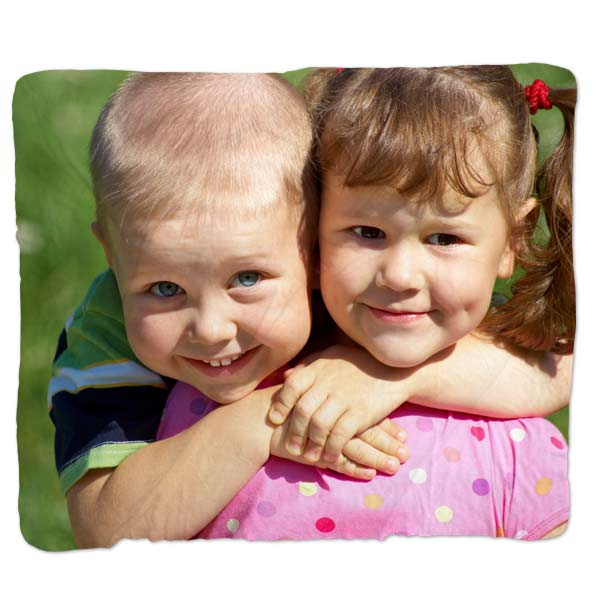Print your photos on a Jersey fleece blanket, which features our sharpest print quality on any blanket