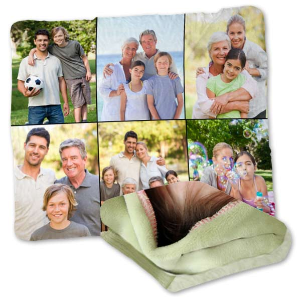 Create your own super soft plush fleece photo collage blanket using your own photos