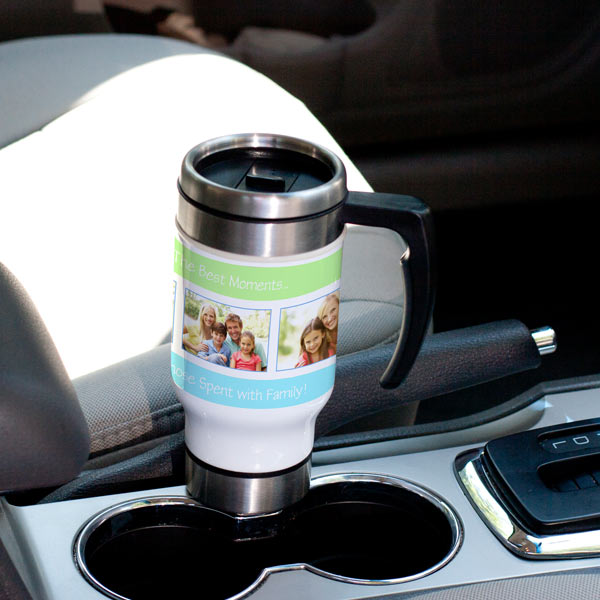 Bring your favorite morning beverage along on your way to work in style with our photo travel mug.