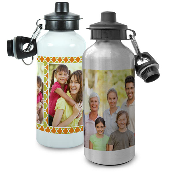 Photo personalized water bottles are available in two finishes, white and metallic