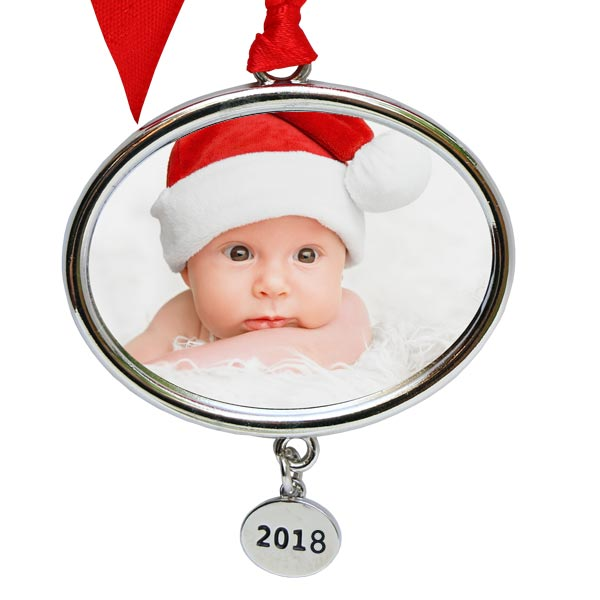 Create a photo personalized ornament with a year charm added