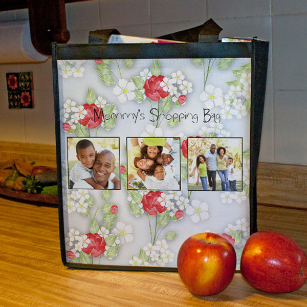 Choose from many designer patterns and add your own photos to create a custom grocery bag for your trips to the store