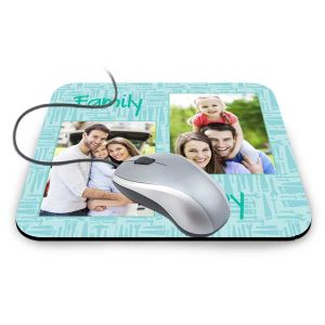 Create your own personalized mouse pad with photos, text and optional designer backgrounds