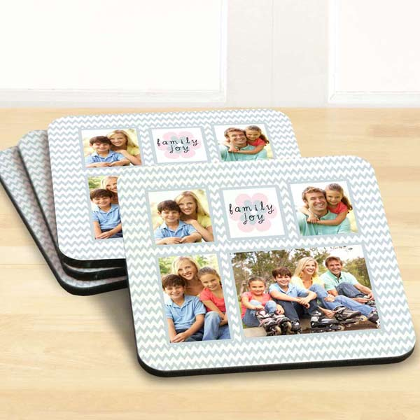 Create a set of four photo collage drink coasters for your home