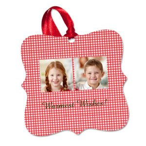 Create a holiday photo ornament for your Christmas tree with our Fancy Square aluminum ornaments