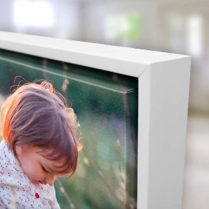 Floating frame canvas shows the beautiful wrapped edge of your canvas and is available in 3 color options