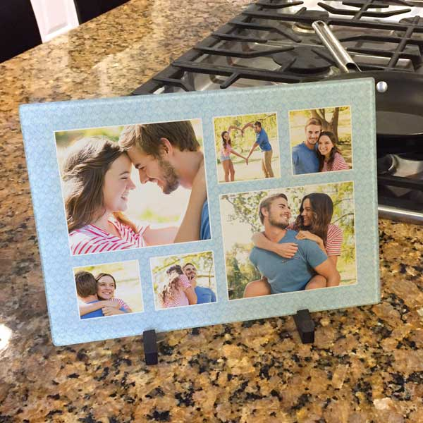 Create your own personalized glass cutting board using one or more of your own photos