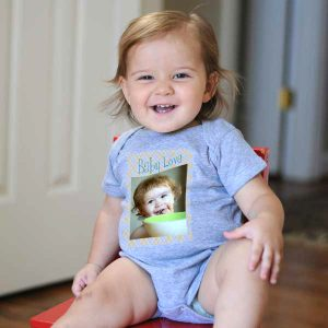 Cute baby wearing custom onesie shirt
