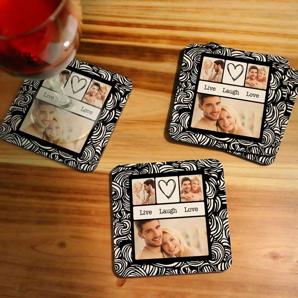 Choose from many designs and add your own photos to create a beautiful set of coasters for your home