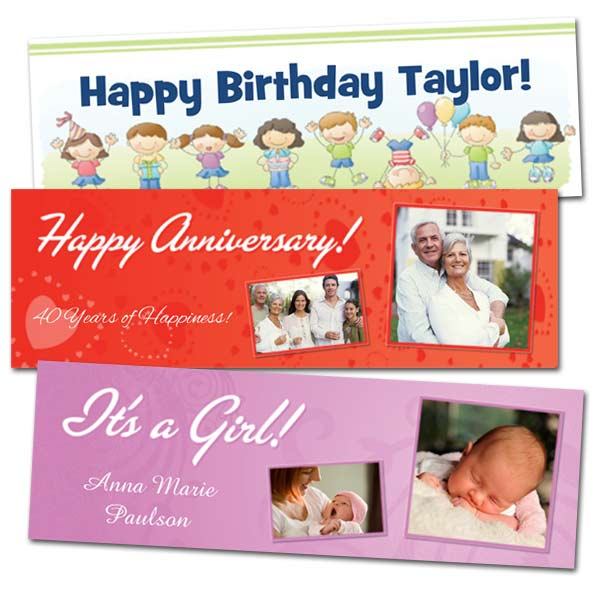 Create your own banner for a birthday, business or party with Print Shop paper banner options
