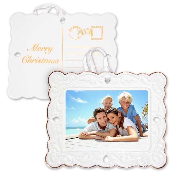 Turn your vacation photo into a commemorative ornament to remember your vacation each year with a postcard ornament