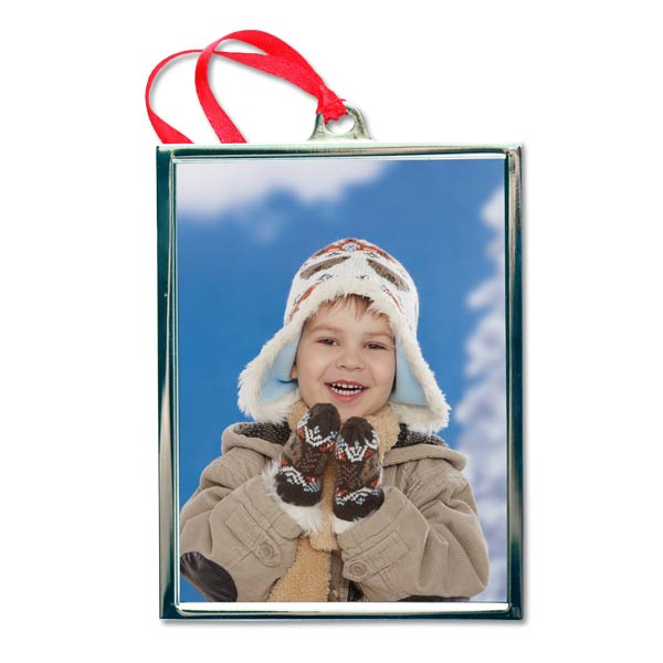 Create a beautiful photo ornament with a silver frame for your favorite portraits to display on your tree