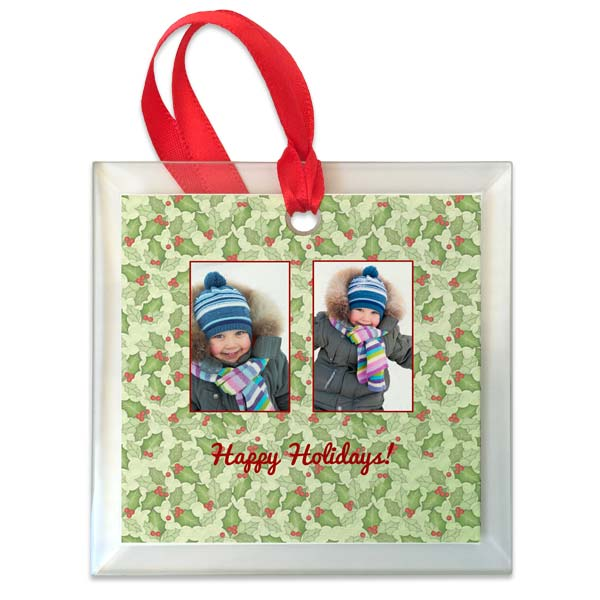 Create a custom glass photo ornament for the holidays and feature up to four of your favorite photos and text