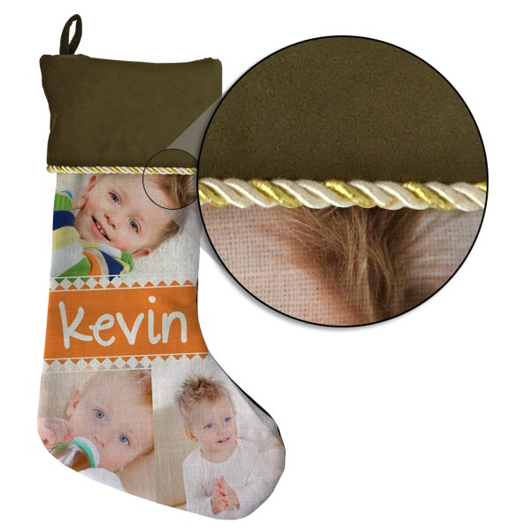 Each stocking is uniquely made with gold trim and your own photos