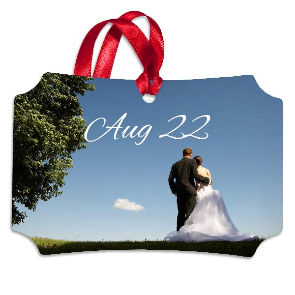 Save the date with a personalized wedding ornament, perfect for remembering your special day