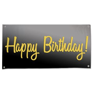 Elegant Black and Gold Happy Birthday banner for your birthday party size 4x2