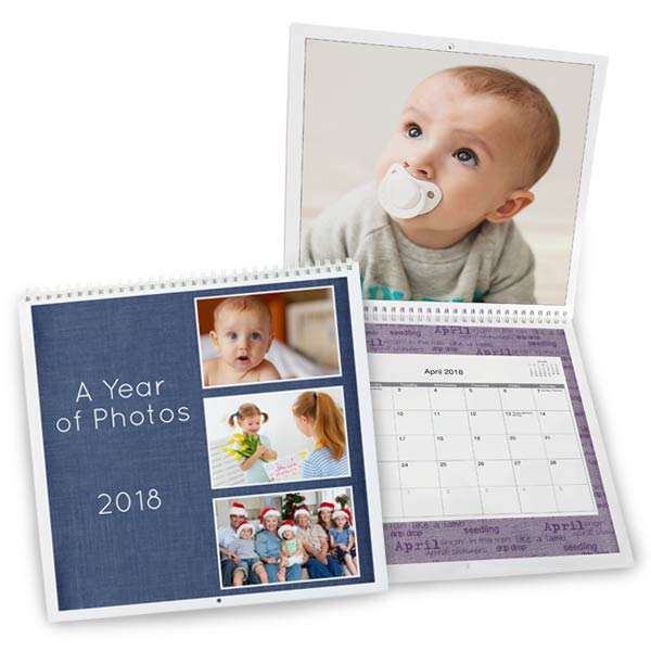Add photos and text to create your own 12x12 spiral bound photo calendar