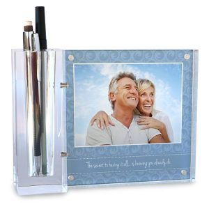 Beautiful custom pen and pencil holder with clear block acrylic to display your photo on your desk