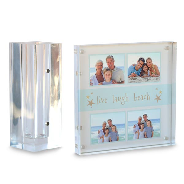 Personalized photo clear block acrylic desk set