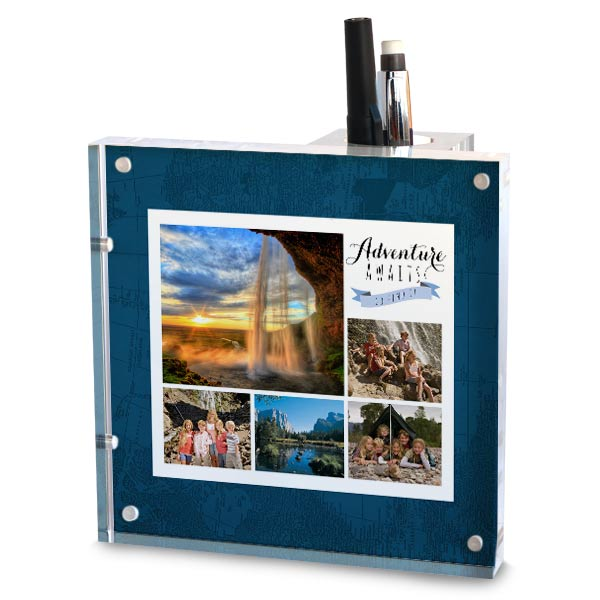 Personalize your own pencil holder with photos and text and re-arrange the holder any way you like