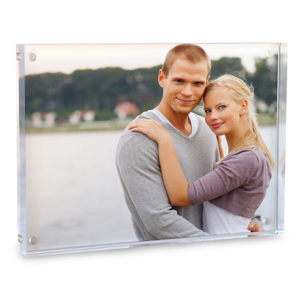 Display your photo in a modern clear block acrylic for your desk or mantel