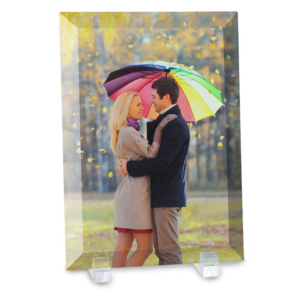 Print your photo on beautiful glass with beveled edges and included stand