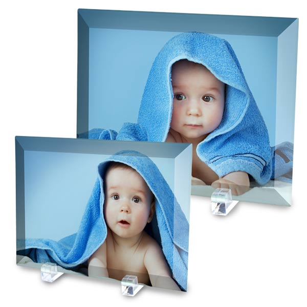 Print your photos on glass, available as 5x7 or 8x10 glass prints with stands