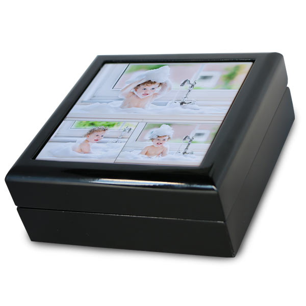 Create a photo collage gift box with beautiful black lacquer finish