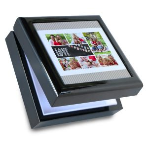 Create a personalized gift box with black lacquer finish, perfect for your keepsakes