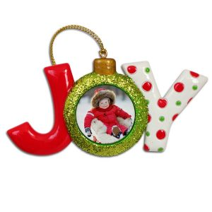 Ceramic JOY Photo ornament with custom photo in side and red and green colors