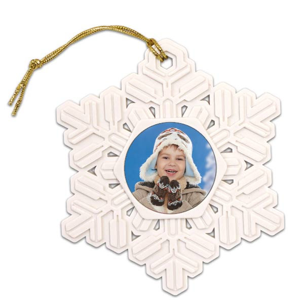 Add your photo to a light weight light plastic resin snowflake for your christmas tree