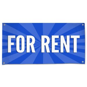 Lease your space and announce it to all with an easy to read banner blue For Rent Banner size 4x2