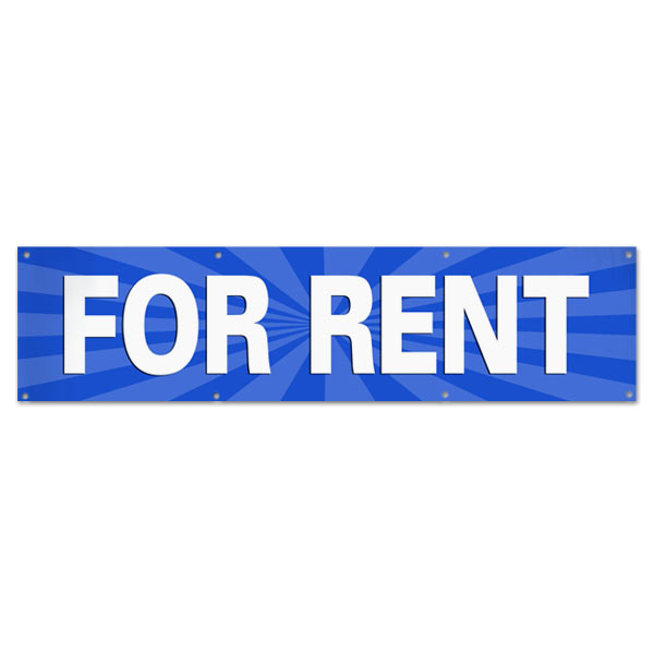 Lease your space and announce it to all with an easy to read banner blue For Rent Banner size 8x2