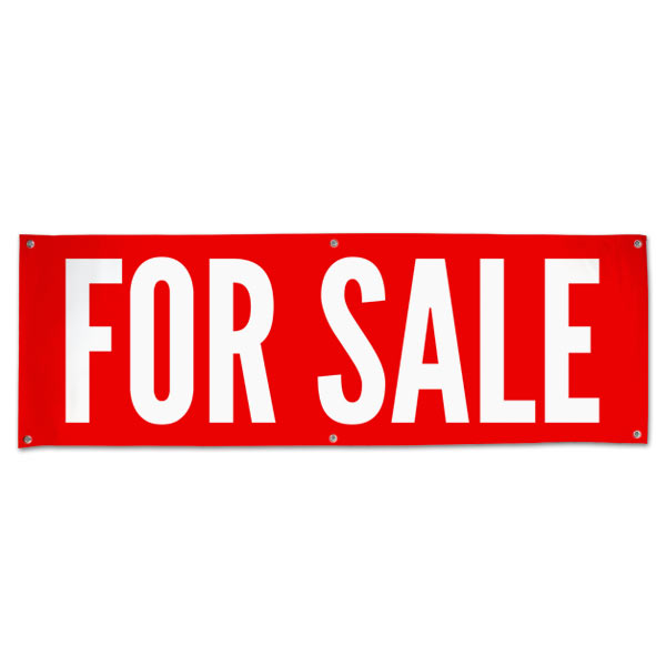 Announce your sale so all can see with a bright red For Sale Banner size 6x2