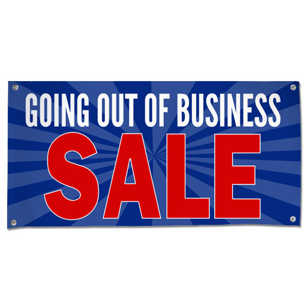 Sell your stuff with Blue Starburst Going out of Business sale banner size 4x2