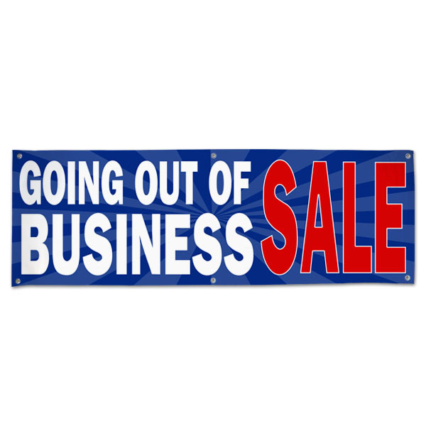Sell your stuff with Blue Starburst Going out of Business sale banner size 6x2