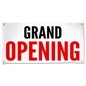 Announce the opening of your business with a clean and simple grand opening banner size 4x2