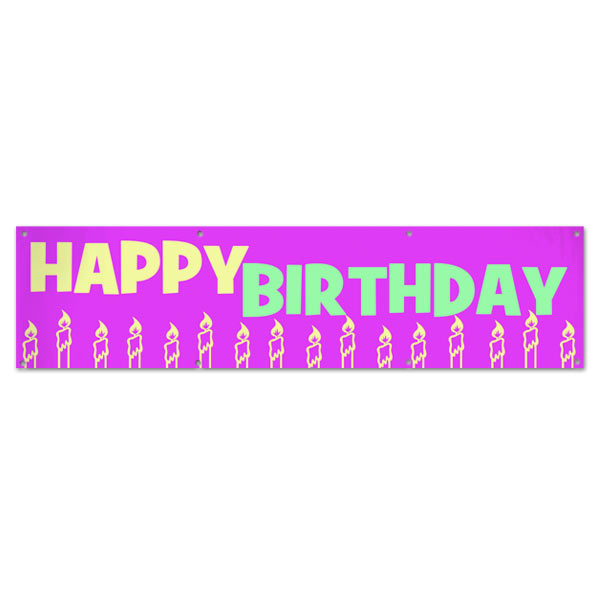 Perfect banner for little girls, decorate your party with a pink candle happy birthday banner size 8x2